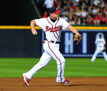 ATLANTA, GA - OCTOBER 5: Chipper Jones #10 of the Atlanta Braves throws out a runner against the St. Louis Cardinals during the National League Wild Card Game at Turner Field on October 5, 2012 in Atlanta, Georgia. (Photo by Scott Cunningham/Getty Images)