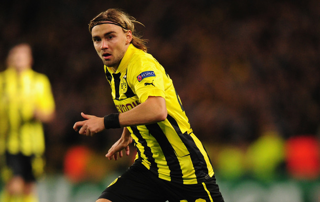 MANCHESTER, ENGLAND - OCTOBER 03:  Marcel Schmelzer of Borussia Dortmund in action during the UEFA Champions League Group D match between Manchester City and Borussia Dortmund at the Etihad Stadium on October 3, 2012 in Manchester, England.  (Photo by Stu