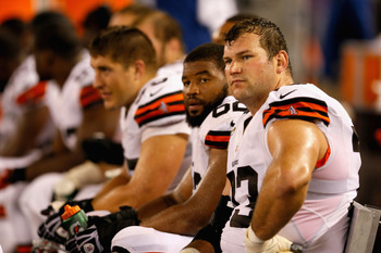 BALTIMORE, MD - SEPTEMBER 27:  Tackle Joe Thomas #73 of the Cleveland Browns looks on from the sidelines against the Baltimore Ravens during the NFL Game at M&T Bank Stadium on September 27, 2012 in Baltimore, Maryland.  (Photo by Rob Carr/Getty Images)