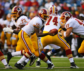 Chris Cooley (47) and Robert Griffin III played sparingly in the preseason together, but have not yet had time to develop chemistry.
