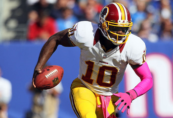Robert Griffin III takes off for a run during an Oct. 21 game against the New York Giants