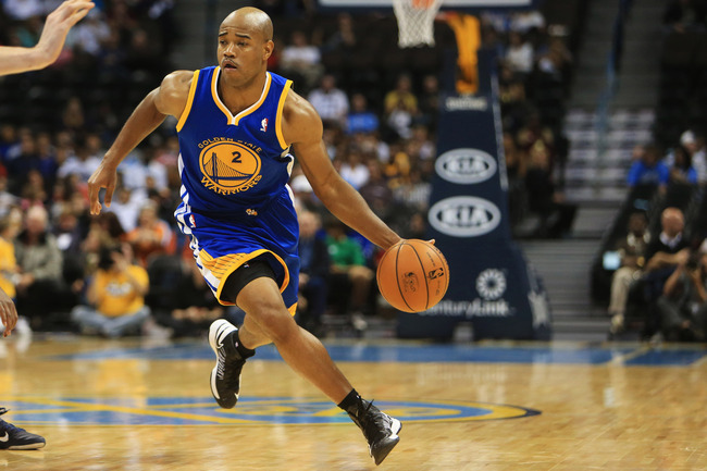 October 15, 2012; Denver, CO, USA; Golden State Warriors guard Jarrett Jack (2) with the ball during the second half against the Denver Nuggets  at the Pepsi Center.  The Nuggets won 104-98.  Mandatory Credit: Chris Humphreys-US PRESSWIRE