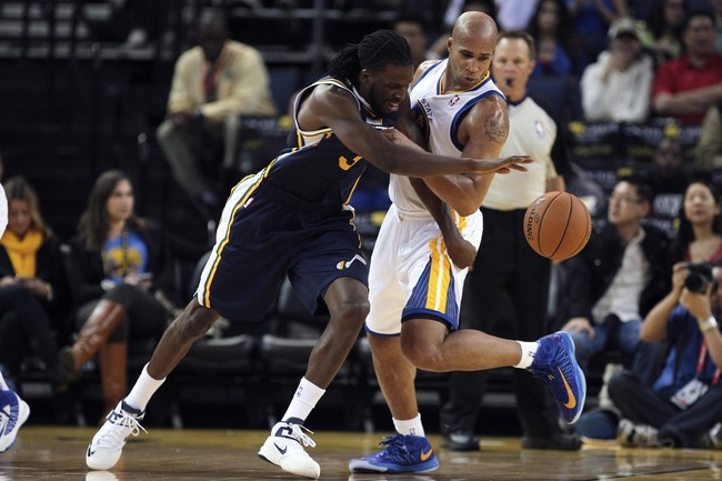 October 8, 2012; Oakland, CA, USA; Utah Jazz forward DeMarre Carroll (3) drives against Golden State Warriors small forward Richard Jefferson (44) during the second quarter at Oracle Arena. Mandatory Credit: Kelley L Cox-US PRESSWIRE