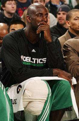 BOSTON - FEBRUARY 27:  Kevin Garnett #5 of the Boston Celtics sits on the bench in the second half against the New Jersey Nets at the TD Garden on February 27, 2010 in Boston, Massachusetts. The Nets defeated the Celtics 104-96.  NOTE TO USER: User expres