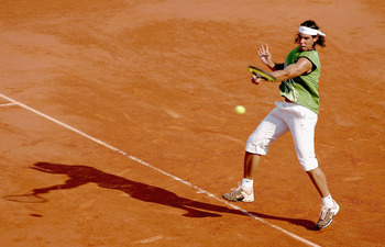 PARIS - JUNE 03:  Rafael Nadal of Spain in action during his semi-final match against Roger Federer of Switzerland during the twelfth day of the French Open at Roland Garros on June 3, 2005 in Paris, France.  (Photo by Michael Steele/Getty Images)