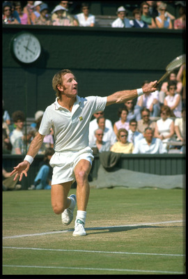 JUN 1968:  ROD LAVER OF AUSTRALIA HITS A BACKHAND ON THE CENTRE COURT AT WIMBLEDON.