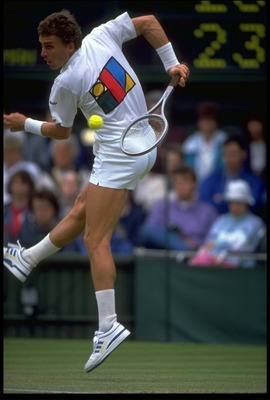 JUN 1989:  IVAN LENDL OF CZECHOSLOVAKIA HITS A SHOT BEHIND HIS BACK AT THE 1989 WIMBLEDON CHAMPIONSHIPS.
