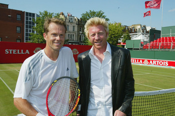 LONDON - JUNE 14:  Stefan Edberg of Sweden(L) and Boris Becker of Germany during the Semi-Finals of the Stella Artois Championship on June 14, 2003 at the Queens Club in London. (Photo by Phil Cole/Getty Images)