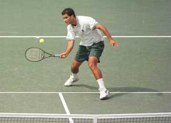 30 Aug 1996: Pete Sampras of the USA focuses on the ball as he charges the net in preparation to hit a forehand return during his match against Jiri Novak of the Chech Republic during the men''s US Open Tennis championship held at Flushing Meadows in New