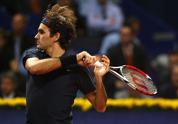 BASEL, SWITZERLAND - OCTOBER 26:  Roger Federer of Switzerland hits a forehand during his Quarter Final singles match against Nicolas Kiefer of Germany during Day Four of the ATP Davidoff Swiss Indoors Tournament at St.Jakobshalle October 26, 2007 in Base