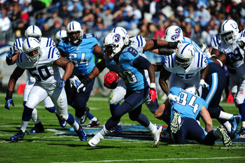 NASHVILLE, TN - OCTOBER 28:  Chris Johnson #28 of the Tennessee Titans carries the ball against the Indianapolis Colts at LP Field on October 28, 2012 in Nashville, Tennessee. (Photo by Scott Cunningham/Getty Images)