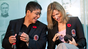 Angela James (left) and Cammi Granato inducted into the Hockey Hall of Fame