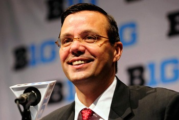 New Nebraska coach Tim Miles at the podium