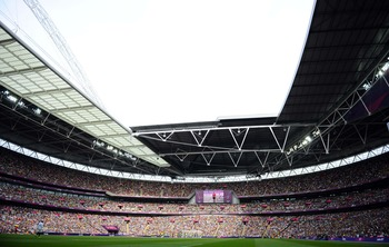 Aug 11, 2012; London, United Kingdom; A general view during the men's soccer gold medal match between Brazil and Mexico in the 2012 London Olympic Games at Wembley Stadium.   Mandatory Credit: Christopher Hanewinckel-USA TODAY Sports