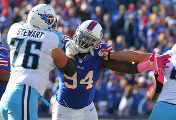 Mario Williams tries to pass rush using just his right arm