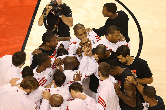 Oct 17, 2012; Toronto, ON, Canada; Toronto Raptors players huddle before their game against the Washington Wizards at the Air Canada Centre. The Raptors beat the Wizards 104-101. Mandatory Credit: Tom Szczerbowski-US PRESSWIRE