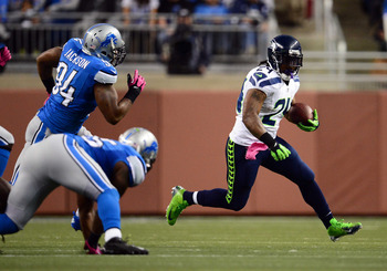 Oct 28, 2012; Detroit, MI, USA; Seattle Seahawks running back Marshawn Lynch (24) runs the ball in the second quarter against the Detroit Lions at Ford Field. Mandatory Credit: Andrew Weber-US PRESSWIRE