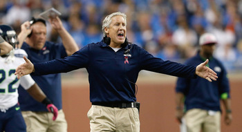 DETROIT, MI - OCTOBER 28: Seattle Seahwaks head coach Pete Carroll reacts to a call during the game against the Detroit Lions at Ford Field on October 28, 2012 in Detroit, Michigan. The Lions defeated the Seahwaks 28-24.  (Photo by Leon Halip/Getty Images