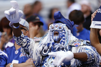 INDIANAPOLIS, IN - SEPTEMBER 16: Indianapolis Colts fan cheers against the Minnesota Vikings during the game at Lucas Oil Stadium on September 16, 2012 in Indianapolis, Indiana. The Colts won 23-20. (Photo by Joe Robbins/Getty Images)