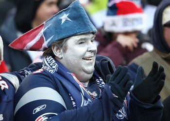 FOXBORO, MA - DECEMBER 24:  A fan of the New England Patriots reacts during a game against the Miami Dolphins at Gillette Stadium on December 24, 2011 in Foxboro, Massachusetts. (Photo by Jim Rogash/Getty Images)