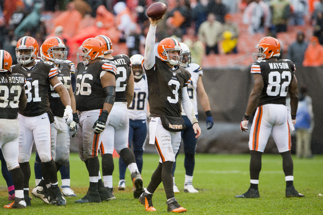 CLEVELAND, OH - OCTOBER 28: Quarterback Brandon Weeden #3 of the Cleveland Browns celebrates as time runs out and the Browns defeated the San Diego Chargers at Cleveland Browns Stadium on October 28, 2012 in Cleveland, Ohio. The Browns defeated the Charge
