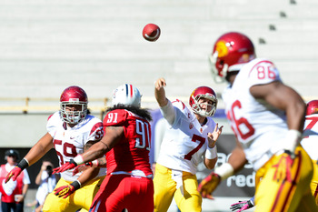 Oct. 27, 2012; Tucson, AZ, USA; USC Trojans quarterback Matt Barkley (7) throws during the first half against the Arizona Wildcats at Arizona Stadium. Mandatory Credit: Matt Kartozian-US PRESSWIRE