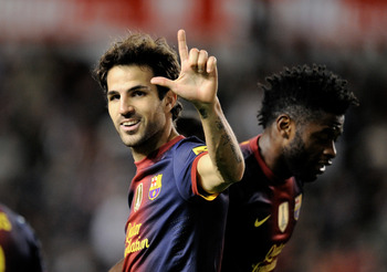 MADRID, SPAIN - OCTOBER 27: Cesc Fabregas of Barcelona celebrates after scoreing his side's 4th goal during the La Liga match between Rayo Vallecano and Barcelona at Estadio Teresa Rivero on October 27, 2012 in Madrid, Spain.  (Photo by Denis Doyle/Getty