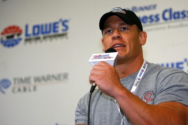 CONCORD, NC - MAY 27:  Professional wrestler John Cena, speaks to members of the media during a press conference, prior to the NASCAR Nextel Cup Series Coca-Cola 600 on May 27, 2007 at Lowe's Motor Speedway in Concord, North Carolina.  Cena was there to t
