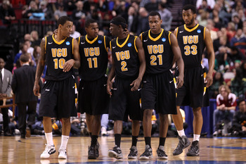 PORTLAND, OR - MARCH 17:  (L-R) Darius Theus #10, Rob Brandenberg #11, Briante Weber #2, Treveon Graham #21 and D.J. Haley #33 of the Virginia Commonwealth Rams stand together in the first half during the third round of the 2012 NCAA Men's Basketball Tour