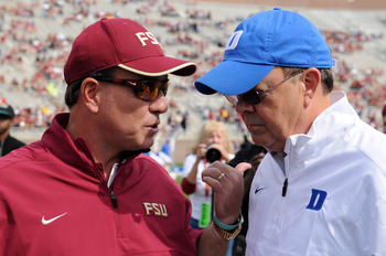 Jimbo and Duke coach Cutcliffe seemed to be terse during the handshake.