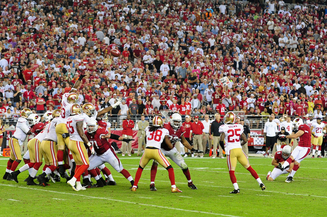 Oct 29, 2012; Glendale, AZ, USA; Arizona Cardinals kicker Jay Feely (3) kicks a 28 yard field goal during the second half against the San Francisco 49ers at University of Phoenix Stadium.  The 49ers beat the Cardinals 24-3.  Mandatory Credit: Matt Kartozi