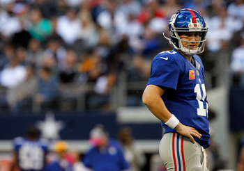 Eli Manning had one of his worst games of the season against the Cowboys.