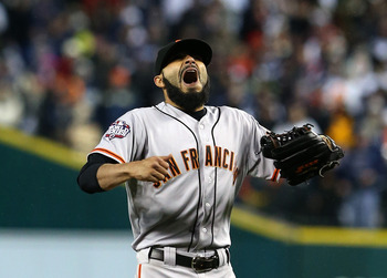Giants' closer Sergio Romo in shock the moment he clinched the World Series victory.
