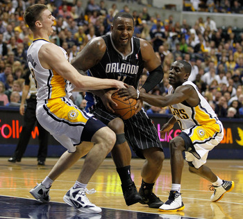 Glen Davis drives against the Pacers in last season's playoffs.