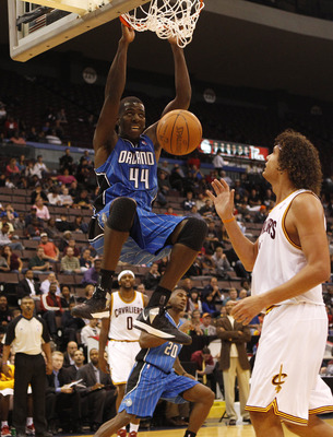 Andrew Nicholson dunks in the Magic's preseason game against Cleveland.