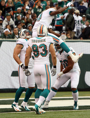 Miami Celebrates after a Punt Block Touchdown