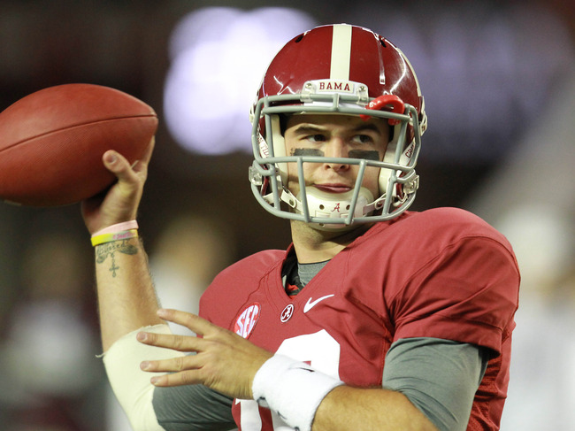 Oct 27, 2012; Tuscaloosa, AL, USA;  Alabama Crimson Tide quarterback A.J. McCarron (10) warms up prior to the game against the Mississippi State Bulldogs at Bryant Denny Stadium. Mandatory Credit: Marvin Gentry-US PRESSWIRE