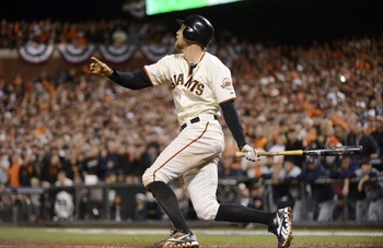 Pence gave the Giants a 2-0 lead in Game 2.