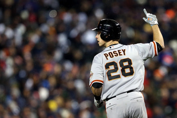 Posey rounds the bases after giving the Giants a 3-2 lead in Game 4.