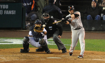 Scutaro drives a high fastball into centerfield for the World Series-clinching run.