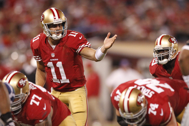 October 18, 2012; San Francisco, CA, USA; San Francisco 49ers quarterback Alex Smith (11) calls a play against the Seattle Seahawks in the third quarter at Candlestick Park. The 49ers defeated the Seahawks 13-6. Mandatory Credit: Cary Edmondson-US PRESSWI