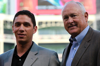 Rangers GM Jon Daniels and principal owner Nolan Ryan.