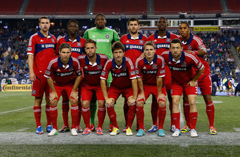 FOXBORO, MA - OCTOBER 20: The starting squad for the Chicago Fire pose for a team photo prior to the game against the New England Revolution during the game on October 20, 2012 at Gillette Stadium in Foxboro, Massachusetts.  (Photo by Jared Wickerham/Gett