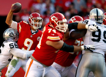 KANSAS CITY, MO - OCTOBER 28:  Quarterback Brady Quinn #9 of the Kansas City Chiefs is sacked by middle linebacker Rolando McClain #55 of the Oakland Raiders during the game at Arrowhead Stadium on October 28, 2012 in Kansas City, Missouri.  (Photo by Jam