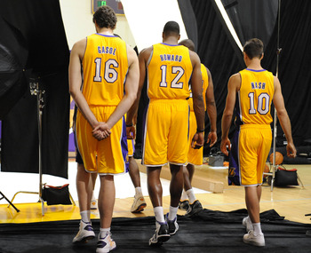 Oct.1, 2012, 2012;   El Segundo, CA, USA;   Los Angeles Lakers power forward Pau Gasol (16),  center Dwight Howard (12),  point guard Steve Nash (10),  shooting guard Kobe Bryant (24) leave a sectioned off photo area during media day at the Los Angeles La