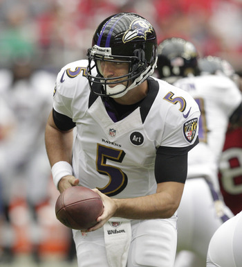 Flacco handing the ball off to Rice against Houston in Week 7