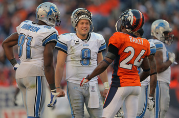 Stafford and Johnson were all smiles against Denver in 2011