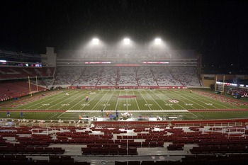 Oct 13, 2012; Fayetteville, AR, USA; A general view Donald W. Reynolds Razorback Stadium after the game between the Arkansas Razorbacks Kentucky Wildcats was called due to lightning delays in the third quarter. Arkansas defeated Kentucky 49-7. Mandatory C