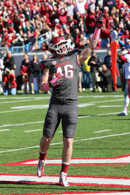 Oct 27, 2012; Little Rock, AR, USA; Arkansas Razorbacks tight end Alex Voelzke (46) celebrates after catching a pass for a touchdown against the Ole Miss Rebels during the second quarter at War Memorial Stadium. Mandatory Credit: Nelson Chenault-US PRESSW