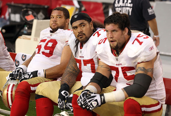 49ers' linemen Goodwin, Iupati and Boone take a well-deserved rest